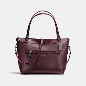 NWT Auth Coach Oxblood/Snake Pebble Leather Purse